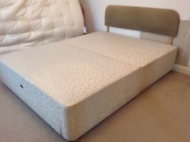 King Size Sprung Divan Base with Drawer & Headboard