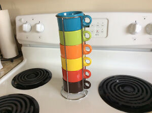 Brand New Pier 1 Imports Coffee Cups & Stand