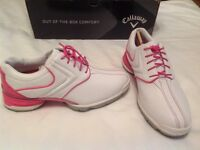 Brand new, ladies, white and pink, Callaway, golf shoes, size 4.5