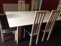 Birch dining table & 6 chairs