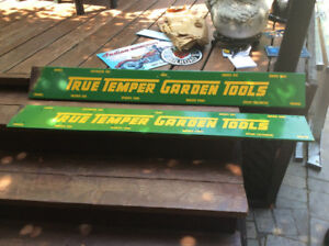 2 TRUE TEMPER GARDEN TOOLS tin advertising signs !