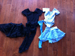 Size 6X/7 Black and Light Blue Body Suits with Sheer Skirts