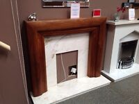 Walnut Mantel in American Walnut with Rosa Royale Marble Hearth and Backpanel