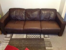 Brown leather suite 3 and 2 seater
