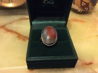 Vintage silver mossagate ring hallmarked
