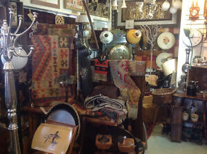 Much cast iron, lamps, Persian rugs, furniture, knobs.......