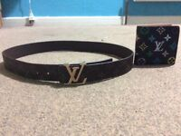 Louis Vuitton belt and wallet for men and women