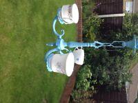Blue upcycled bird feeder