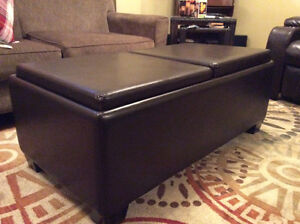Faux Leather Convertible Coffee Table