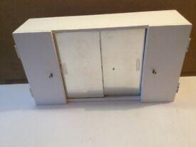 Bathroom cabinet with mirror doors & two lockable doors
