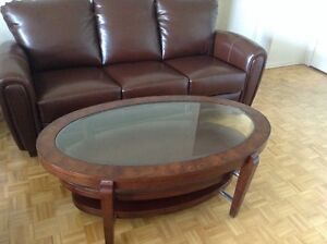 Walnut 3-Tiered Coffee Table with Glass Top Display - Brand New