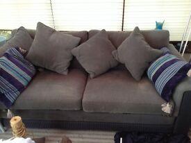 Original lusty Lloyd Loom slate grey and navy contemporary sofa and chair