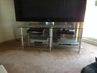 Glass/stainless steel 55 inch TV stand