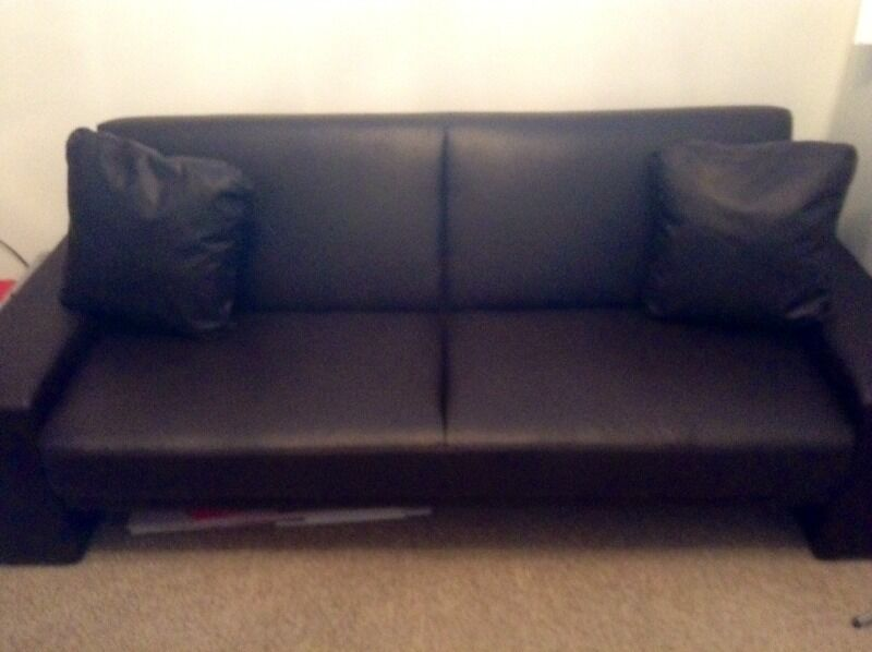 FAUX BROWN LEATHER SOFA BED | in Norwich, Norfolk | Gumtree