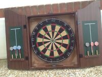 Dart Board in Case With Darts and Chalkboard Scoring