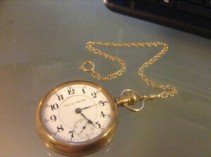 Antique AMERICAN WALTHAM Pocket Watch. J. BOSS 14K Gold Filled