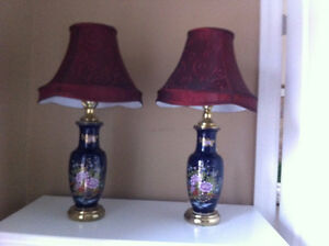 TWO DARK BLUE FLORAL TABLE LAMPS London Ontario image 1