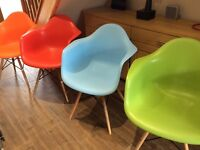 Charles eames inspired plastic tub chairs excellent condition