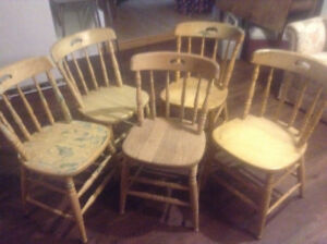 5 - 1890 Soild Ash Chairs in need of refinishing