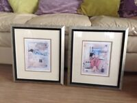 Two matching pictures ,lovely frames ,as new