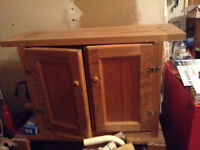 PINE CABINET WITH CRIBBAGE BOARD ON TOP