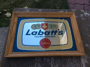 "Vintage Labatt's Beer Bar Mirror 18"" x 13"""