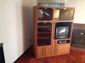 Glass and wood glass fronted tv/vcr etc cabinet