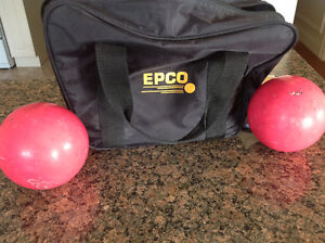 Epco bowling balls and carrying bag.
