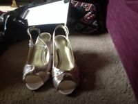 Gold sling back ladies shoes