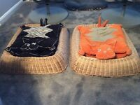 2 IKEA wicker cat baskets with 4 cat cushions