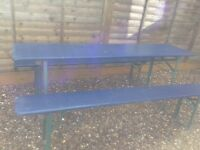 Two Vintage fold down German beer table and bench sets