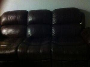 Leather Burgandy colour sofa Edmonton Edmonton Area image 1