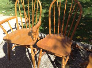 VERY NICE SET OF 6 vintage oak chairs firm price Cambridge Kitchener Area image 4