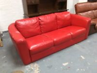 Rustic Red Leather Sofa : can deliver in Glasgow area