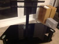 Black glass television stand.