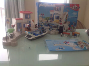 Large harbour and police speedboat Playmobil set
