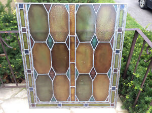 ANTIQUE LEADED STAINED GLASS 39 by 34