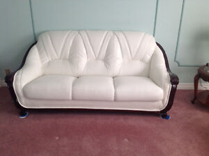 White Leather Couch, Love Seat & Chair For Sale