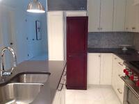 2 panneaux en merisiers pour recouvrir portes de frigo