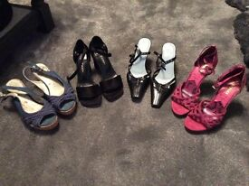 Selection of 4 pairs of ladies shoes size 3