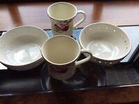 Laura ashley 2 mugs, 2 bowls (hand pierced)