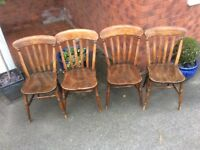 Set of Four Farmhouse Beech and Elm Chairs