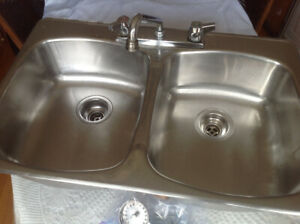 Kitchen Sink - Double with Taps - Stainless Steel