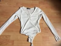 Pretty little thing white bodysuit size 10