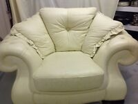 Real Leather Pendragon Cream 3 seater, 2 seater sofa and chair