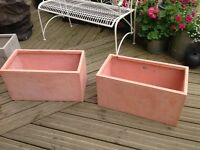 Two Fibrecotta trough planters
