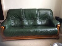 3.1.1 GREEN LEATHER CHESTERFIELD SUITE, WOODEN FRAME