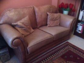 Leather sofa and storage pouffee, light tan/brown