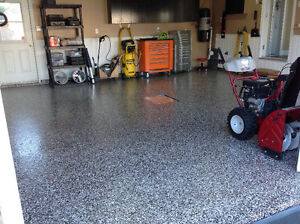 Peinture rev tement epoxy pour plancher de garage en beton rev tement de sol lanaudi re kijiji for Peinture de sol pour garage