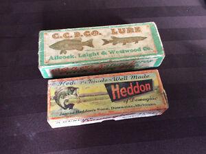2 OLD FISHING LURE BOXES.    HEDDON & C. C. B. Co